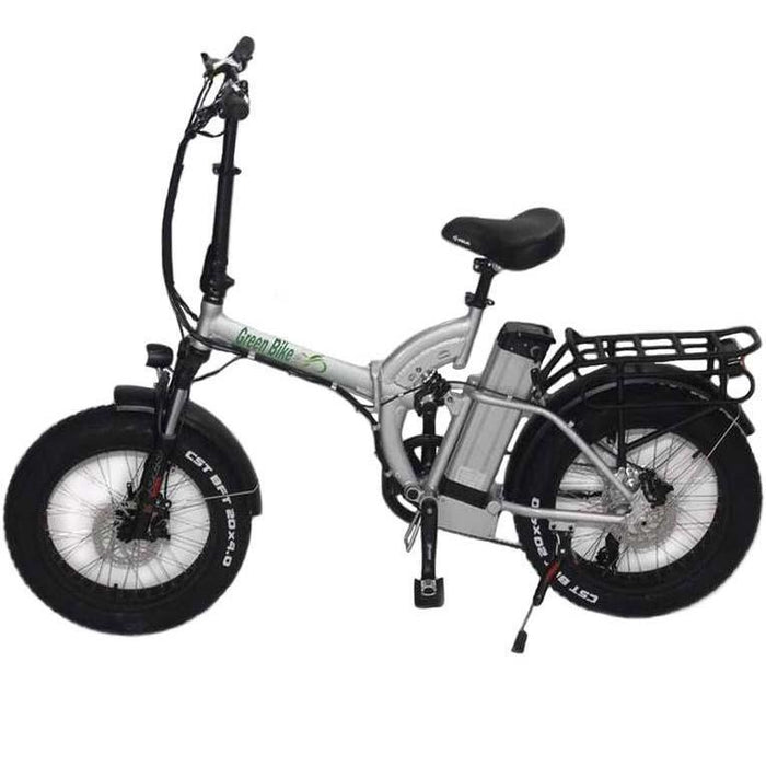 Greenbike USA Folding Bike Silver Greenbike GB750 Folding Electric Fat Bike Electric Bicycle USA