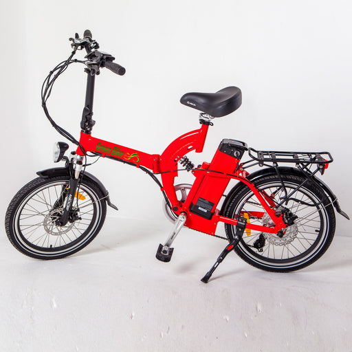 Greenbike USA Folding Ebike Red Greenbike GB5 Full Suspension Electric Folding Bike Electric Bicycle USA