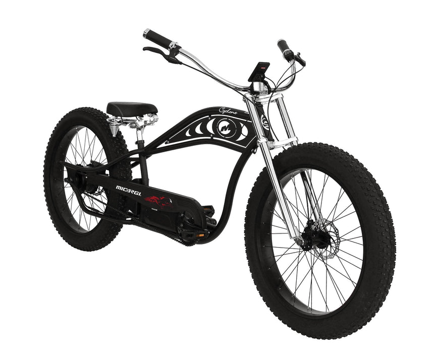 Micargi Cruiser Matte Black with Black Rims Micargi Cyclone Electric Beach Cruiser Bike Electric Bicycle USA