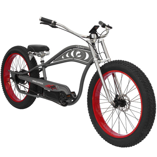 Micargi Cruiser Matte Grey with Red Rims Micargi Cyclone Electric Beach Cruiser Bike Electric Bicycle USA
