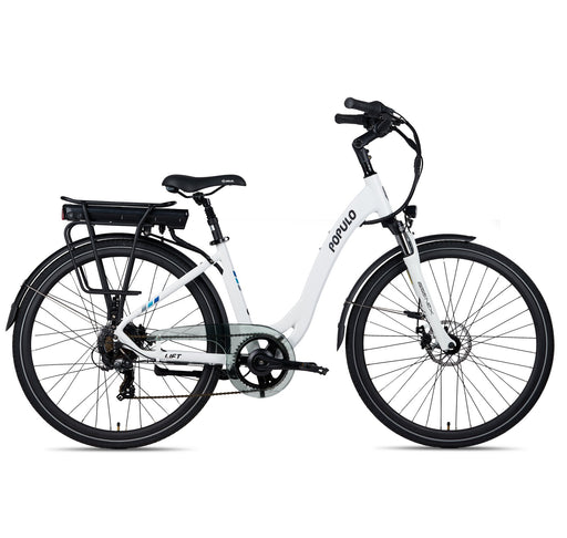 Populo Cruiser White / 43cm Populo Lift V2 Stepthrough Cruiser Electric Cruiser Bike Electric Bicycle USA