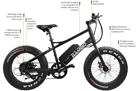 Rambo Hunting Bike RAMBO R350 COMPACT Youth Electric Hunting Bike Electric Bicycle USA