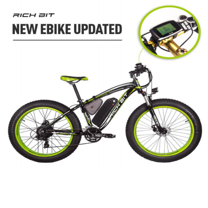 Richbit Mountain Bike Green Richbit TOP-022 21-Speed Fat Tire Ebike Electric Bicycle USA