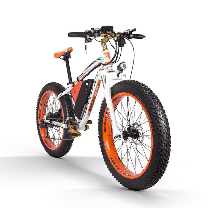Richbit Mountain Bike Orange Richbit TOP-022 21-Speed Fat Tire Ebike Electric Bicycle USA