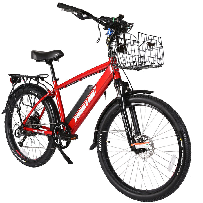 X-Treme Cruiser Metallic Red / None X-Treme Santa Beach Cruiser Electric Bike Electric Bicycle USA