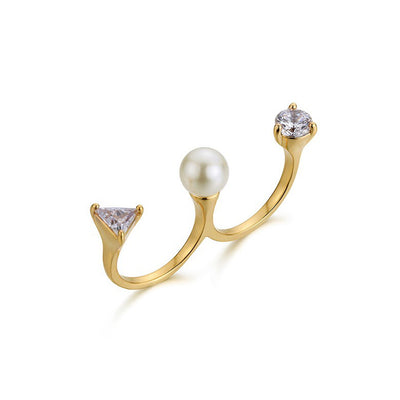 Baelys Faux Pearl Chic Open Ring