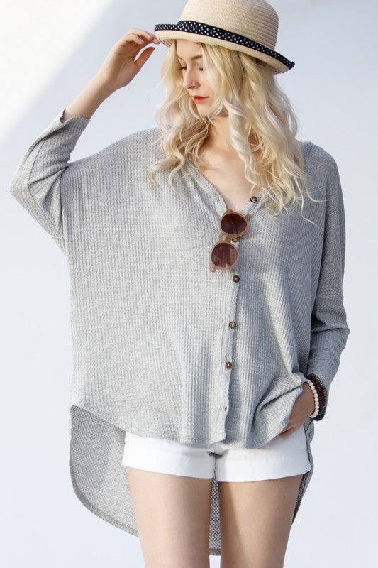 Oversize Thermal Waffle Long Sleeve Button Knit Top