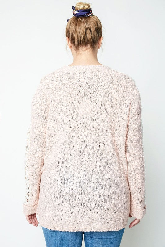 Plus Lace Sleeve Hi-Low Sweater