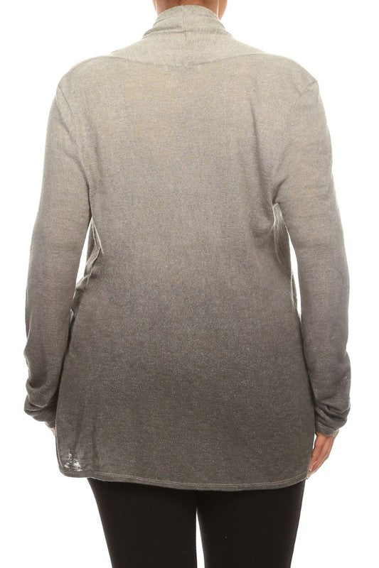 Plus Draped Crossover Ombre Dyed Long Sleeve Top
