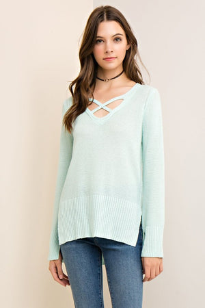 Mint Strappy Front Lightweight Split Hem Sweater