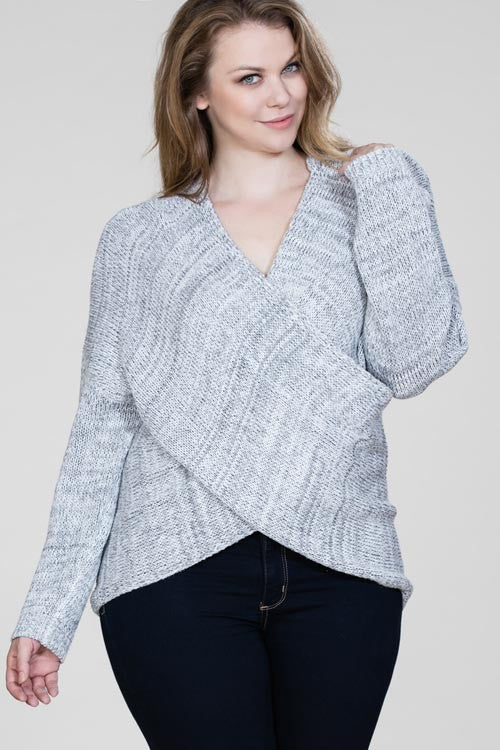 Plus Grey Surplice Wrap Sweater