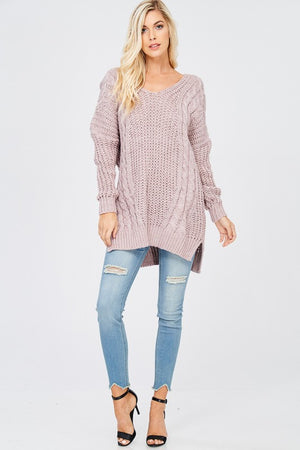 Oversized Knit Cross Back Sweater