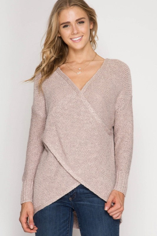 Long Sleeve Surplice Wrap Knit Sweater
