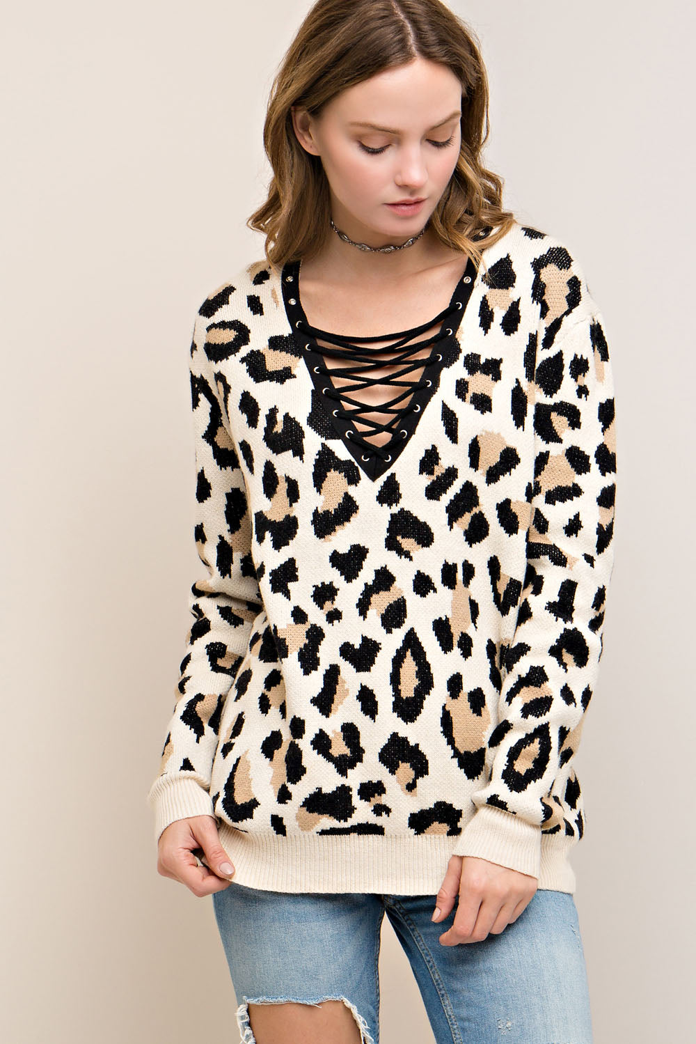 Super Soft Leopard Contrast Lace Up Sweater