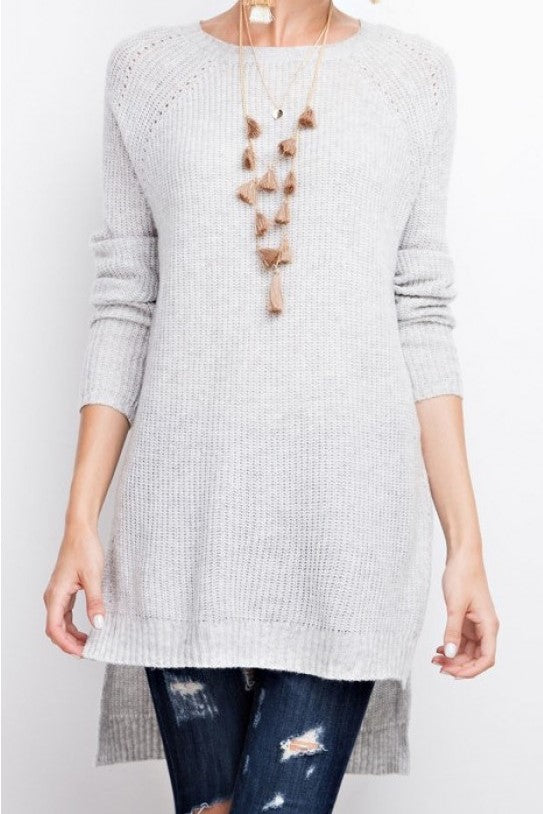 Grey Knit Round Neck Hi Low Sweater