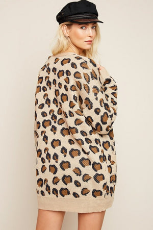Leopard Open Knit Oversized Cardigan