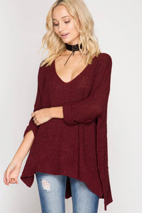 3/4 Sleeve Hi-Low Pullover Sweater