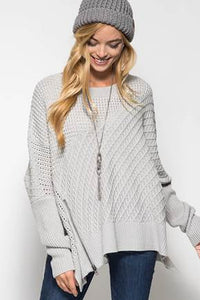 Oversized Knit Sweater with Front Zipper Detail