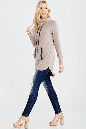 Now In Stock!! Super Soft Cowl Neck Pocket Tunic Hi-Low Sweater