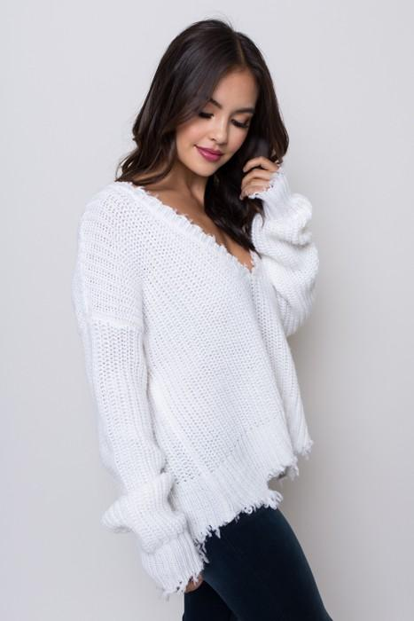 Deep V Distressed Crop Sweater