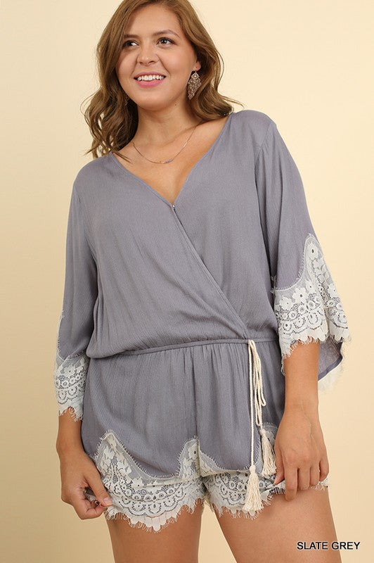 Plus Grey Lace Hem Romper