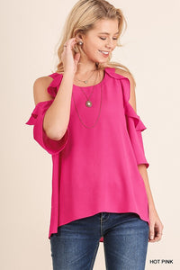 Hot Pink Cold Shoulder Ruffle Top