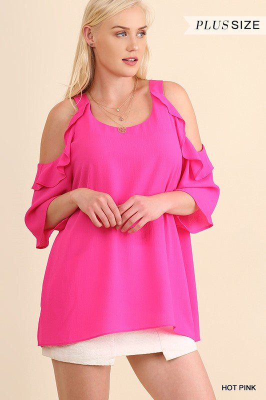 Plus Hot Pink Cold Shoulder Ruffle Top