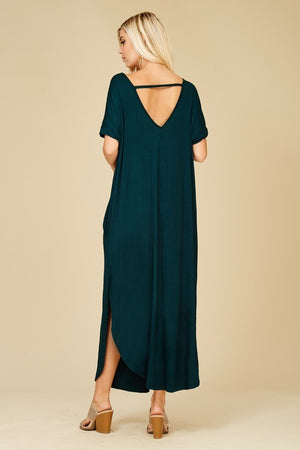 Deep V Short Sleeve Pocket Strappy Back Maxi in Black