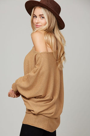 Oversized Texture Knit Off Shoulder Top