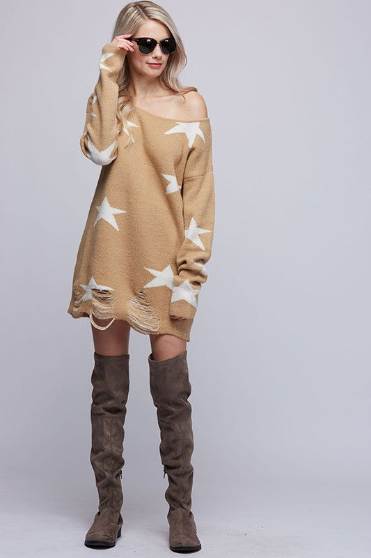 Star Print Distressed Boat Neck Sweater