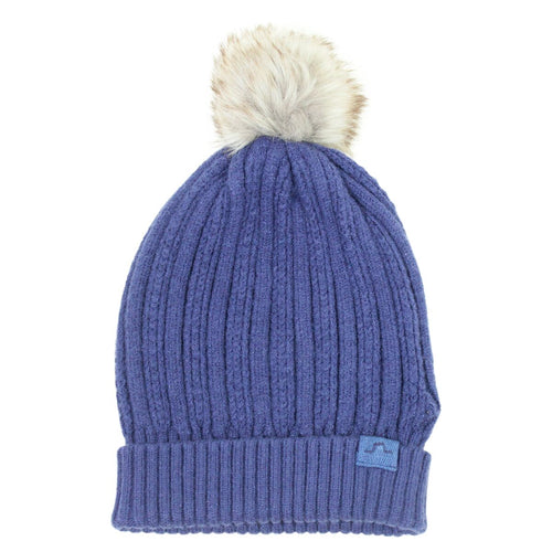 Ribbed Fur Bobble Hat