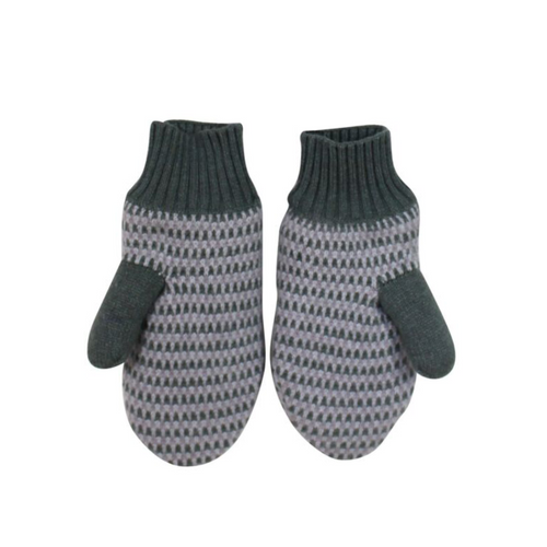 Knit Striped Fleece Lined Mittens