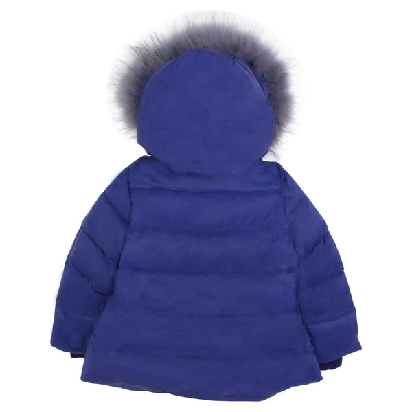 Girls Diagonal Zip Down Hooded Coat