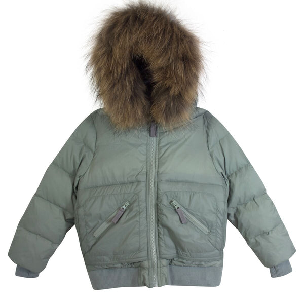 Downcoat Hooded Fur Down Coat in Khaki