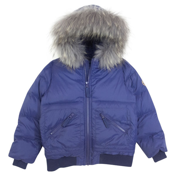 Downcoat Hooded Fur Down Coat in Navy