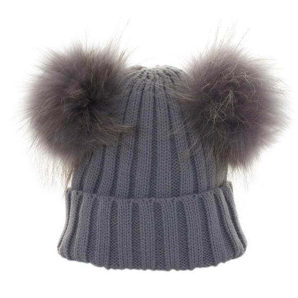 cc840a93f49 Real Fur Double Bobble Hat Grey – Chateau de Sable