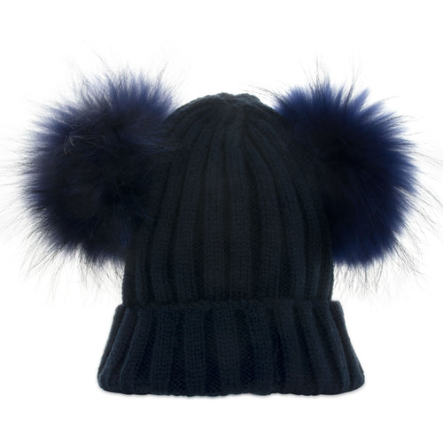Real Fur Double Bobble Hat Navy - Chateau de Sable