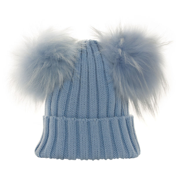Real Fur Double Bobble Hat Blue - Chateau de Sable