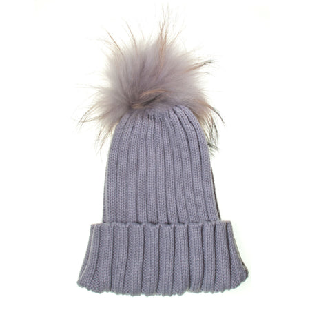 Real Fur Bobble Hat White