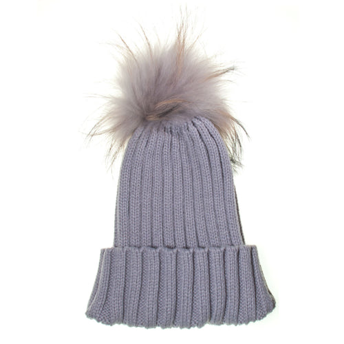 Real Fur Bobble Hat Grey - Chateau de Sable