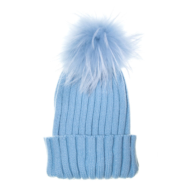 Real Fur Bobble Hat Pale Blue - Chateau de Sable