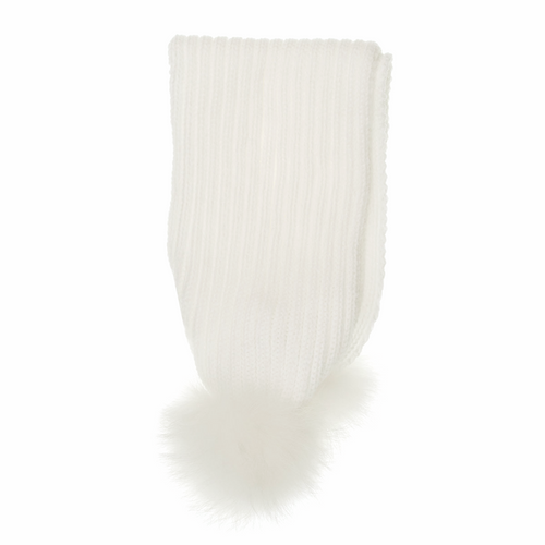 Fur Bobble Scarf White - Chateau de Sable