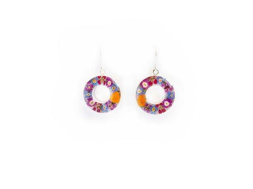 Cassia Floral Inlay Resin Earrings