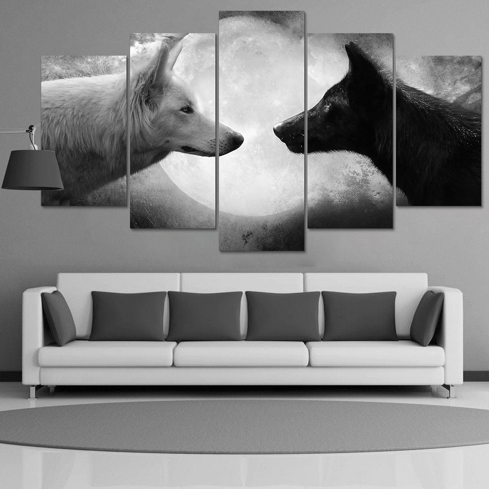 5 Pieces Canvas Wall Art Black White Wolf Painting