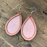 Wood Teardrop Earrings with Baby Pink Cork