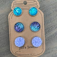 Purple and Turquoise Leopard Triple Faux Druzy Earring Set