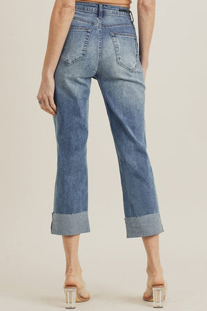 HIGH WAIST DISTRESSED STRAIGHT LEG JEAN