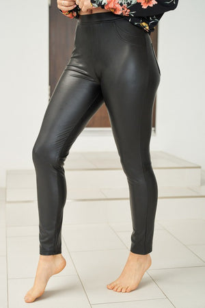Faux Leather Knit Leggings w/Back pockets