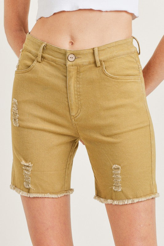 SOLID MID LENGTH SHORTS