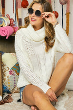PATTERN KNIT COWLNECK SWEATER